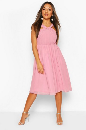 Dusty rose Petite Occasion Pleated Detail Midi Dress