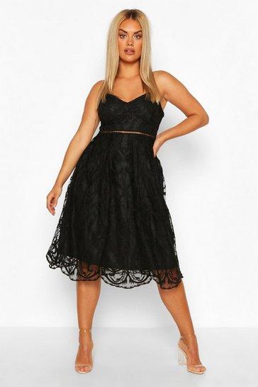 Black Plus Crochet Lace Midi Skater Dress