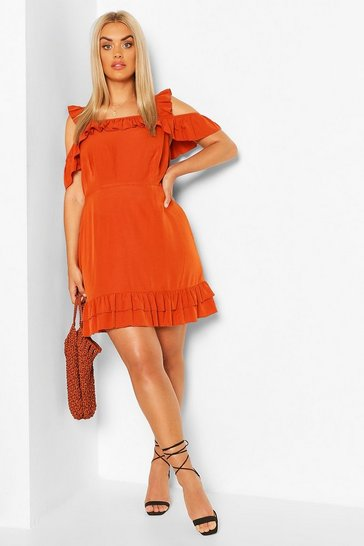 Rust Plus Ruffle Strap Woven Mini Dress