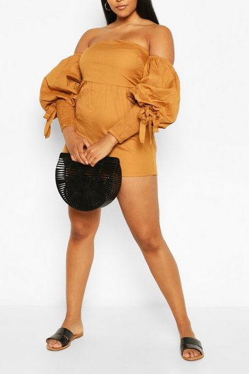 Tan Plus Linen Puff Sleeve Shirred Playsuit