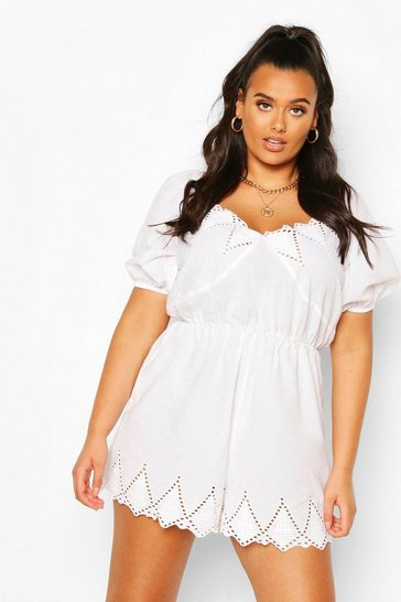 White Plus Broderie Puff Sleeve Playsuit