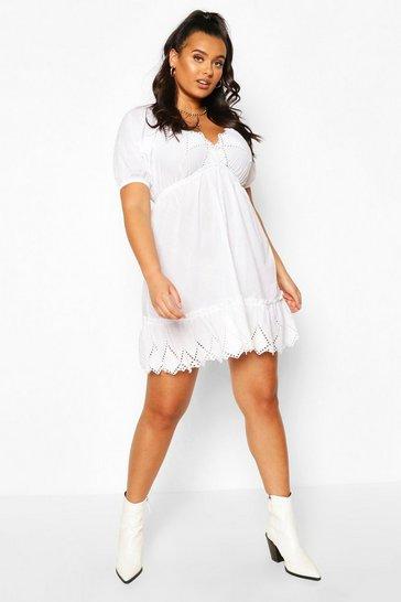 White Plus Broderie Puff Sleeve Skater Dress