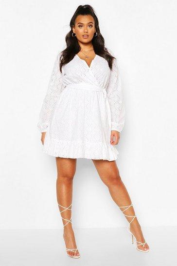 White Plus Broderie Anglaise Skater Dress