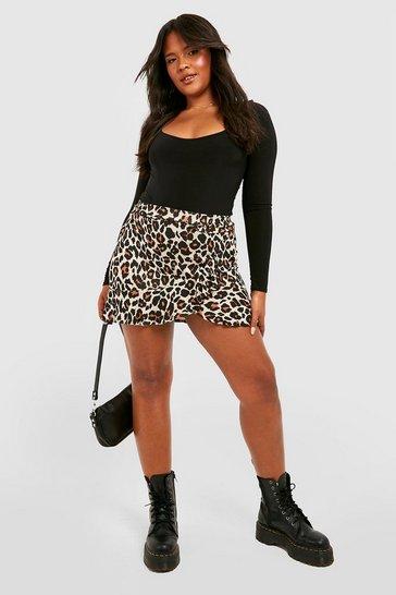 Brown Plus Leopard Print Ruffle Skater Skirt