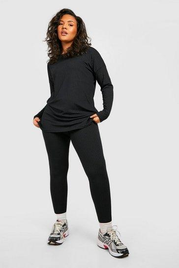 Black Plus Oversized Rib Top & Legging Co-ord