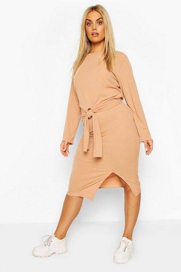 Camel Plus Soft Rib Top & Midi Skirt Co-ord