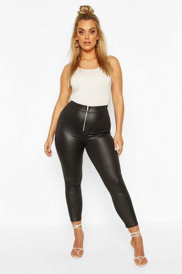 Black Plus Zip Front PU High Waist Legging