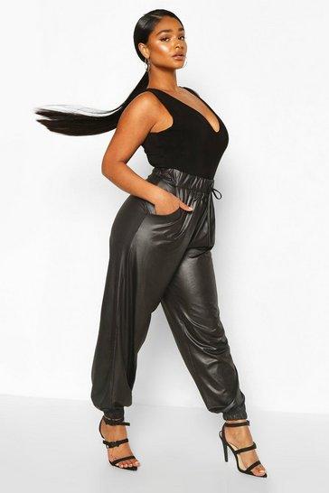 Black Plus Leather Look Joggers