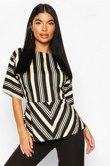 Black Petite Stripe Twist Front Blouse