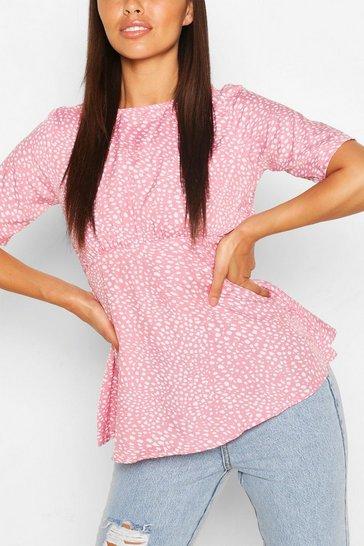 Pink Petite Smudge Print Kimono Sleeve Smock Top