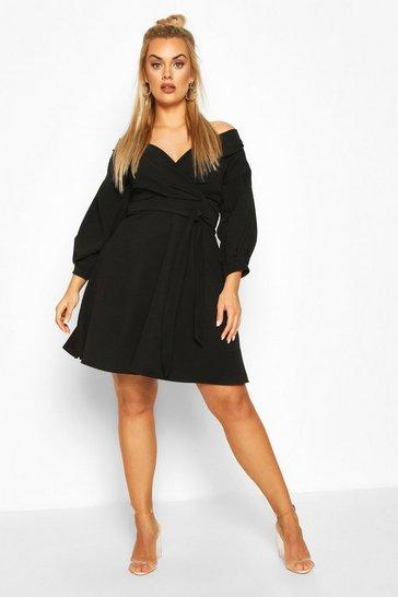 Black Plus Off The Shoulder Skater Dress