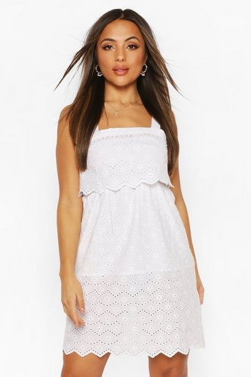 White Petite Broderie Sun Dress
