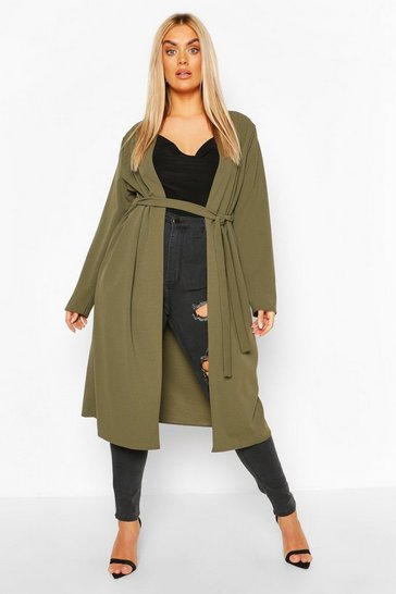 Khaki Plus Ruched Belted Duster Coat