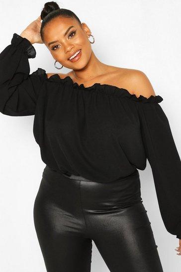 Black Plus Bardot Woven Bodysuit