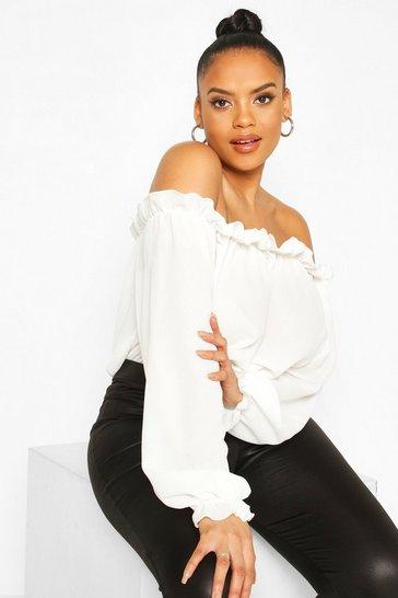 Ivory Plus Bardot Woven Bodysuit