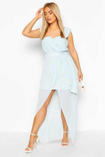 Dusty blue Plus Occasion Pleated Wrap Midi Dress