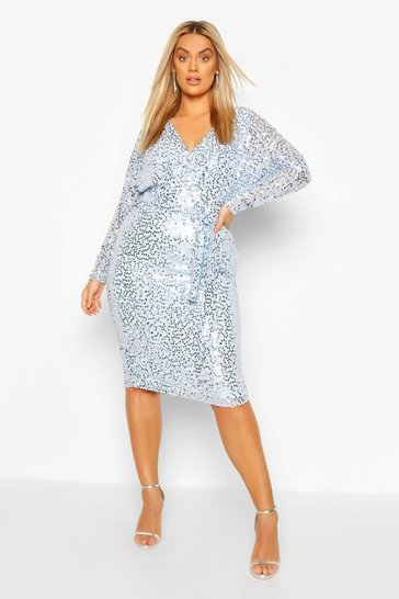 Powder blue Plus Occasion Sequin Plunge Midi Dress