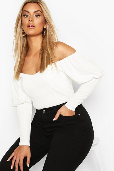 Ivory Plus Off Shoulder Puff Sleeve Fitted Top