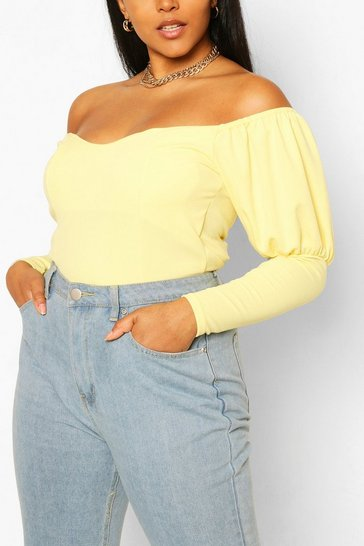 Yellow Plus Off Shoulder Puff Sleeve Fitted Top