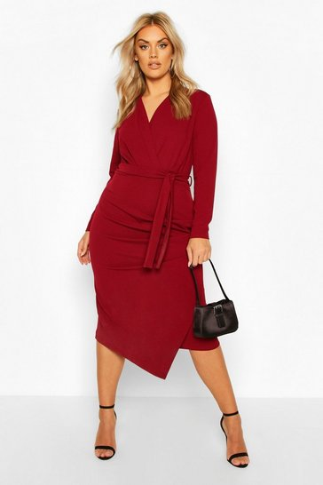 Wine Plus Wrap Front Midi Dress