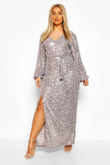 Silver grey Plus Sequin Plunge Maxi Dress