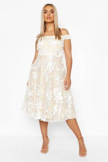 Ivory Plus Occasion 3D Floral Bardot Skater Dress