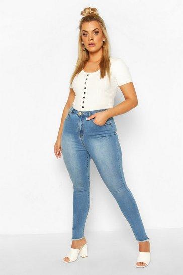 Mid blue Plus Denim Frayed Hem Skinny Jean