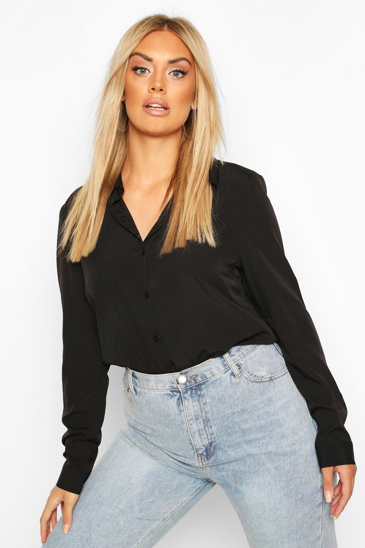 Womens Plus Hemd mit durchgehender Knopfleiste - schwarz - 42, Schwarz - Boohoo.com