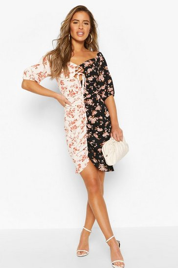 Black Petite Mixed Floral Ruched Mini Dress