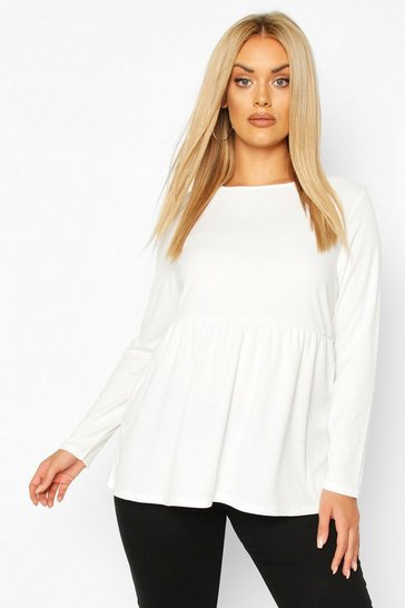 White Plus Super Soft Rib Longsleeve Smock Top