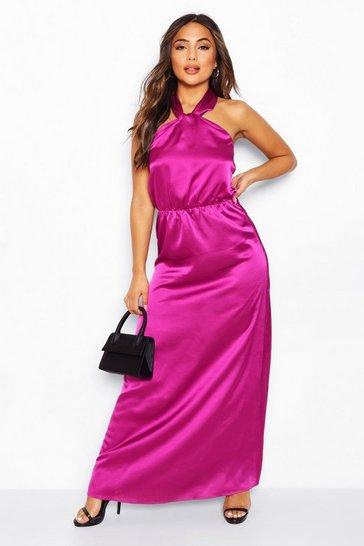 Purple Petite Satin Halterneck Maxi Dress