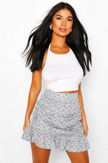Blue Petite Floral Ruched Frill Hem Mini Skirt