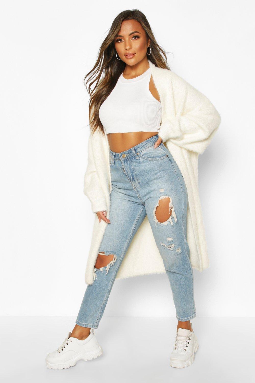 Petite Premium Fluffy Knit Maxi Cardigan