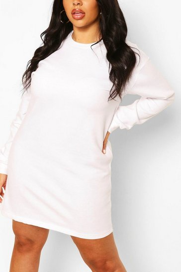 White Plus Oversized Basic Sweat Dress