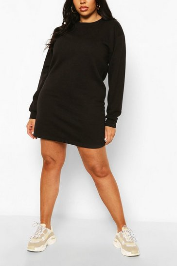 Black Plus Oversized Basic Sweat Dress