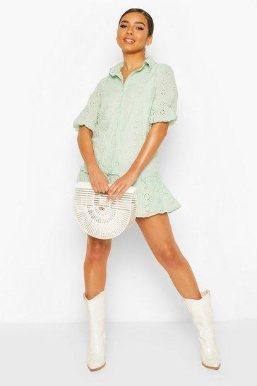 Sage Petite Broderie Shirt Dress