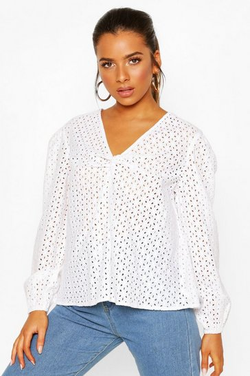 Ivory Petite Broderie Twist Front Puff Sleeve Top