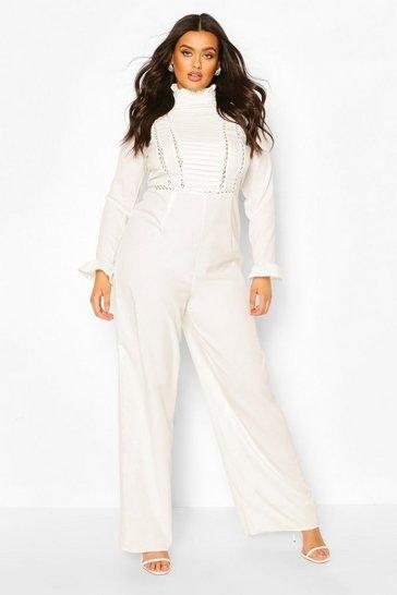 Ivory Plus Pleated Crochet Insert Tailored Jumpsuit