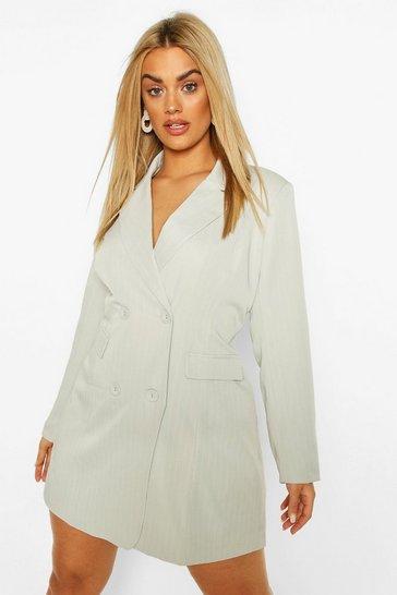 Light grey Plus Double Breasted Pinstripe Blazer Dress