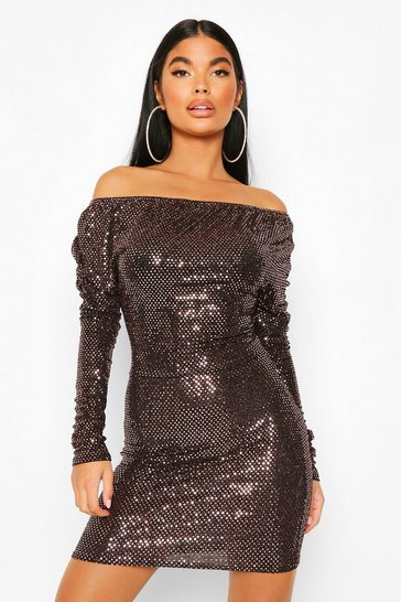Rose gold Petite Metallic Off Shoulder Long Sleeve Dress