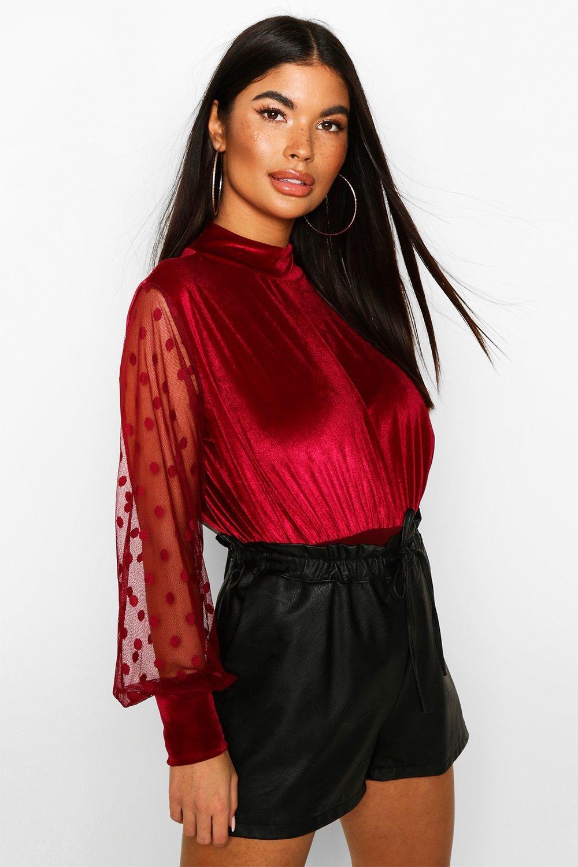 Womens Petite High Neck Velvet Dobby Mesh Sleeve Bodysuit - berry - 34, Berry - Boohoo.com