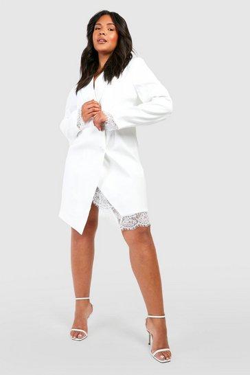 Ivory Plus Lace Insert Blazer Dress