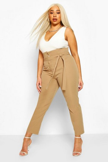 Camel Plus High Waist Self Belt Tailored Slim Trouser