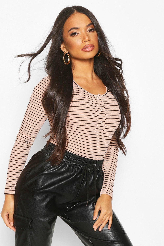 Womens Petite Stripe Rib Popper Detail Bodysuit - stone - 30, Stone - Boohoo.com