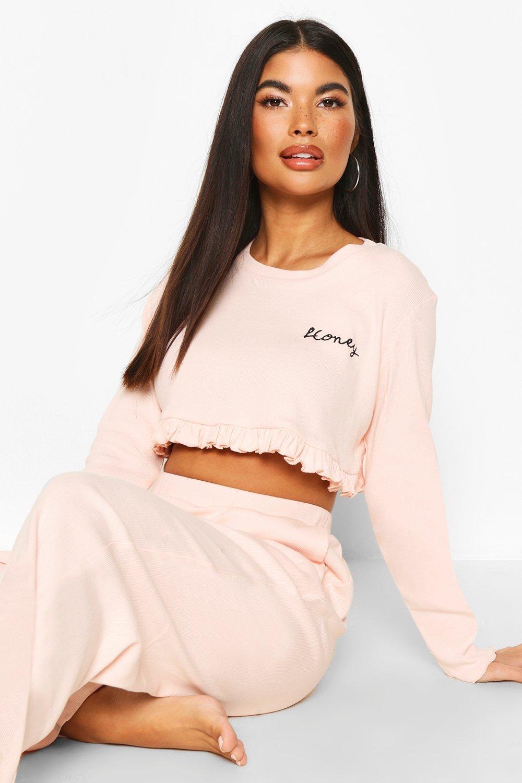 boohoo Petite 'Honey' Slogan Pyjama Met Ruche Top