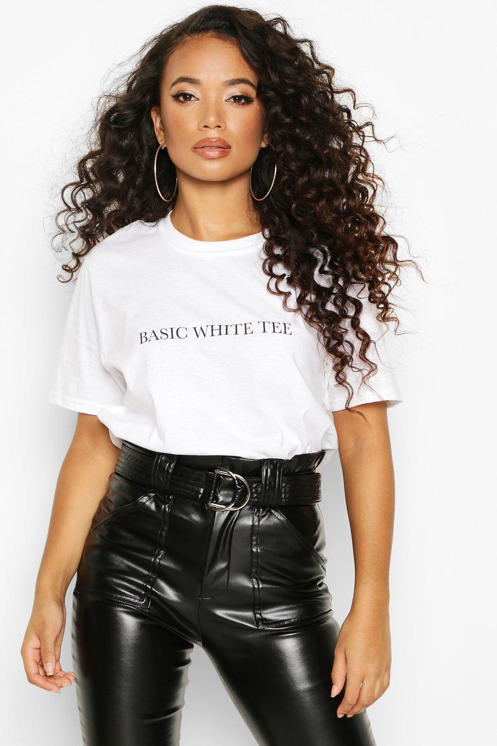 Womens Petite 'Basic White Tee' Slogan T-Shirt - S, White - Boohoo.com