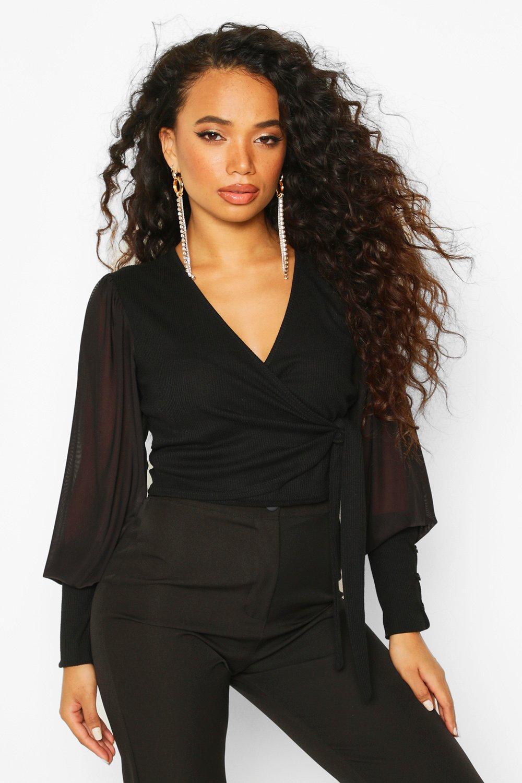 Womens Petite Mesh Puff Sleeve Ribbed Wrap Top - black - 30, Black - Boohoo.com