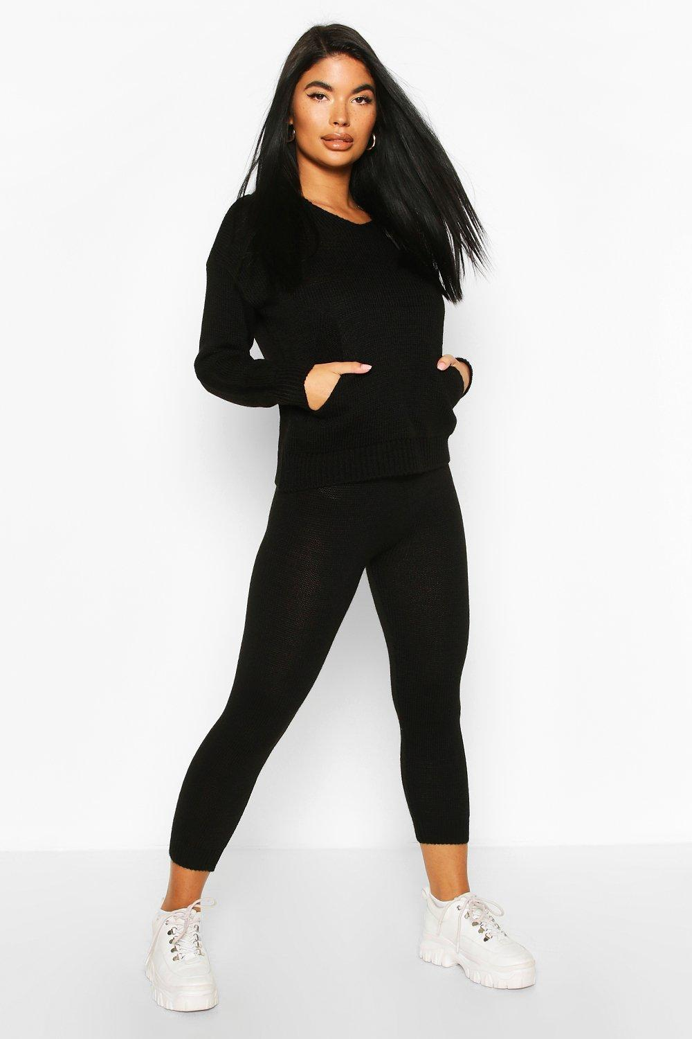 boohoo Womens Petite Hooded Knit And Jogger Co-Ord - Black - L, Black