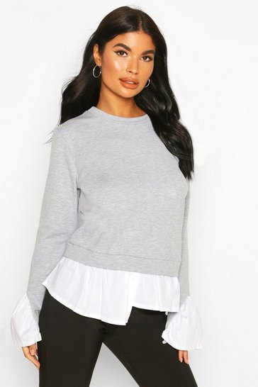 Grey Petite Layered Shirt Sweat Top