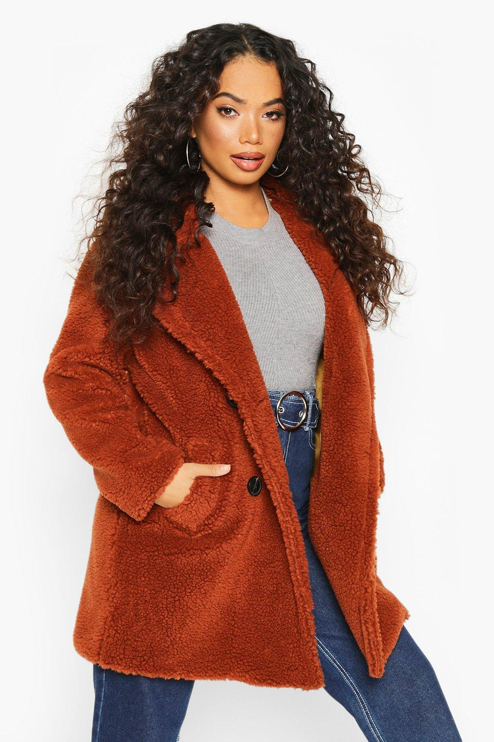 boohoo Womens Petite Double Breasted Teddy Coat - Orange - 4, Orange